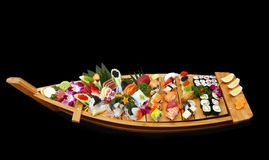 A boat of sushi Royalty Free Stock Photos
