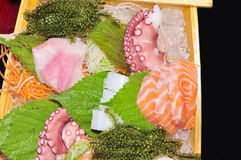 A boat of sushi with tuna, salmon, green caviar and octopus Royalty Free Stock Photos