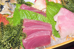 A boat of sushi with tuna, salmon, green caviar and octopus Stock Images