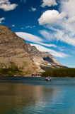 Boat on Swiftcurrent Lake Stock Image
