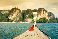 Boat swims to the island,Krabi,Thailand Stock Images