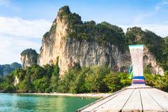 Boat swims to the island,Krabi,Thailand Stock Photo