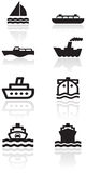 Boat symbol vector illustration set. Royalty Free Stock Photo