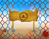Boat symbol on wooden and broken red and blue net Royalty Free Stock Photo
