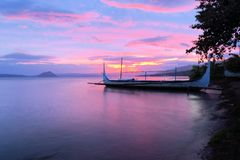 Boat on Taal lake in front of Volcano, Philippines Royalty Free Stock Images