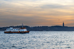 Boat in the Tagus River, Lisbon Royalty Free Stock Photos