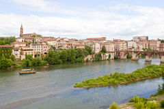 Boat in Tarn river with a view of Albi Royalty Free Stock Photos