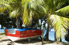 Boat taxi on beach Bequia Stock Photo