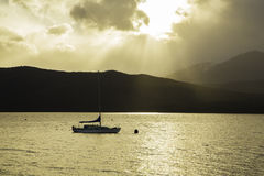 Boat on Te Anau River in New Zealand Royalty Free Stock Photography