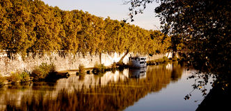 The boat in the Tevere in Rome Italy Royalty Free Stock Image