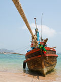 Boat in Thai sea, Thailand. Boat on the beach in Thai sea, Thailand stock photos