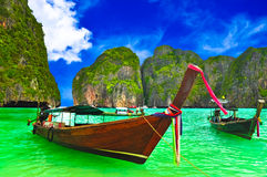 Boat at Thailand beach. Phi phi island Stock Image