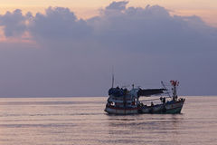 Boat in Thailand. Sunset on the sea stock image