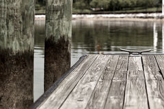 Boat Tie Down on End of Dock Royalty Free Stock Photos