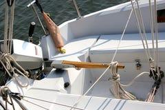 Boat Tiller. Tiller and other equipment in a sailing vessel stock photo