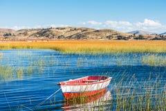Boat in Titicaca Lake peruvian Andes at Puno Peru Stock Image
