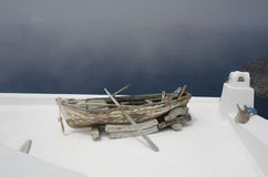 Boat to nowhere in Santorini royalty free stock images