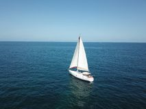 Boat in to the sea royalty free stock photography