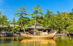 Boat at Todai-ji temple complex in Nara Stock Image