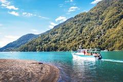 Boat at Todos los Santos Lake - Los Lagos Region, Chile. Puerto Varas, Chile - Feb 23, 2018: Boat at Todos los Santos Lake - Los Lagos Region, Chile stock images
