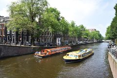 Boat tour in Amsterdam Royalty Free Stock Photography