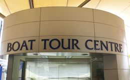 Boat Tour Center sign. Ticket office of a boat tour centre Stock Photos