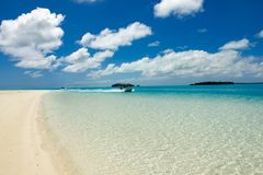 Boat trip through paradise of South Pacific Ocean, turquoise clear water, white beach, Aitutaki Royalty Free Stock Image