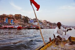 On a boat tour in Varanasi, India. On a boat tour on the Ganges River in Varanasi, India royalty free stock photo