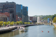 Boat tour on Nervion River in Bilbao Stock Image