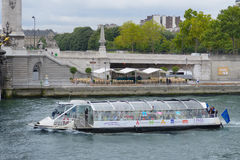 Boat tour in Paris, France Stock Images