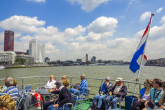 On a boat tour in Rotterdam stock image