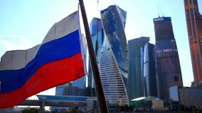 Boat Tour with russian flag at Kremlin, Moscow stock footage