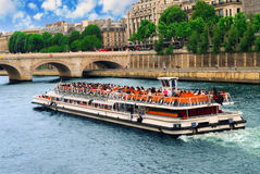 Boat tour on Seine stock photos