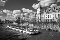 Boat tour on Seine river in Paris Royalty Free Stock Photos