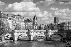 Boat tour on Seine river in Paris Stock Photo