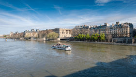 Boat tour on Seine river Stock Photo