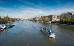 Boat tour on Seine river Stock Images