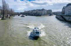 Boat tour on Seine river in Paris Stock Photography