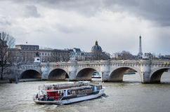 Boat tour on Seine river in Paris Royalty Free Stock Image