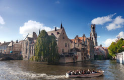 boat with tourists on channel, Bruges Royalty Free Stock Photography