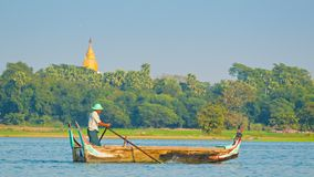 Boat for tourists leisure on Taungthaman lake stock video