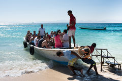 Boat with tourists on the Red Sea. Stock Photo