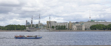 Boat with tourists sailing on the Neva River in St. Petersburg Royalty Free Stock Photo