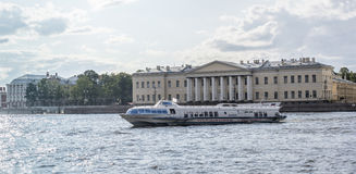 Boat with tourists sailing on the Neva River in St. Petersburg Stock Image