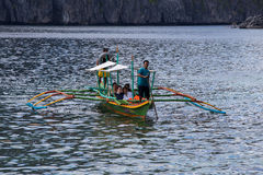 Boat with tourists to travel between the islands. El Nido , Philippines Stock Image