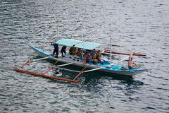 Boat with tourists to travel between the islands. El Nido . Philippines Royalty Free Stock Images
