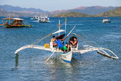 Boat with tourists to travel between the islands. El Nido . Philippines Royalty Free Stock Image