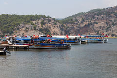 Boat tours in Dalyan Royalty Free Stock Photos