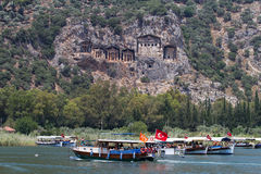 Boat tours in Dalyan River Royalty Free Stock Photography
