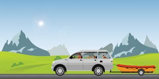 Boat towing car on road running along on a sunny spring day in the holiday vector illustration